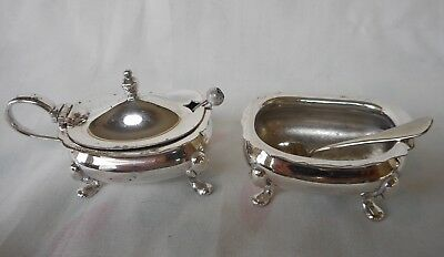 Vintage Silver Plated Cruet Set - Open Salt Cellar And Mustard Pot With Spoons