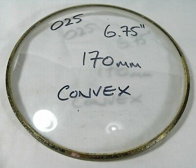 """025 VINTAGE CLOCK GLASS - CONVEX - SIZE WITH METAL TRIM 170mm (6.75"""") -139.2g"""