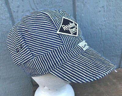 VTG 50's LEE Sanforized Reading Lines Hickory Train Railroad Engineer Cap Hat Sm