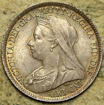 Great Britain: 1898 Queen Victoria Old-Head Silver Sixpence
