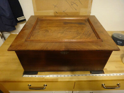 "Antique Nicole Freres, LTD. 16"" Metal Disc Wood Music Box - 21 Discs Included"