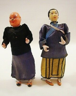 2 Vintage Antique Chinese Dolls Man Wife Woman Doll Composition Asian Clothing