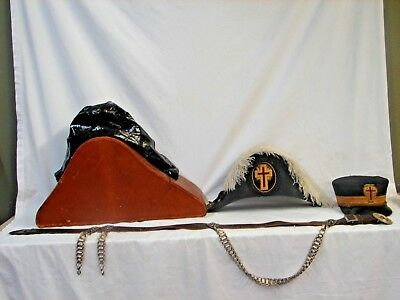 Antique Masonic Knights Templar Bicorne Hat W/ Belt Cap & Case