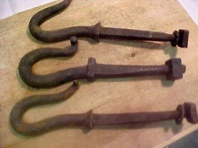 3 Old Primitive Rustic Hand Forged Wrought Iron Barn Hooks