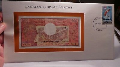 Banknotes of all Nations, Cameroon 500 Francs. A1630996 Stamp/Postmark/Info Card