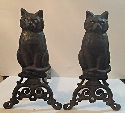 Vintage Cast Iron Glass Eyed Black Cat  Andirons / Fireplace Tools
