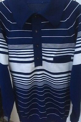"""Mens Vintage Nylon 60s Mod Long Sleeve Top With Pocket Size Small 36"""" Very Smart"""