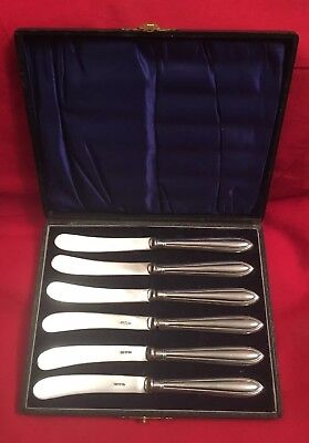 Box Of 6 Vintage Silver Plated Butter Knives With White Metal Handles c.1930's