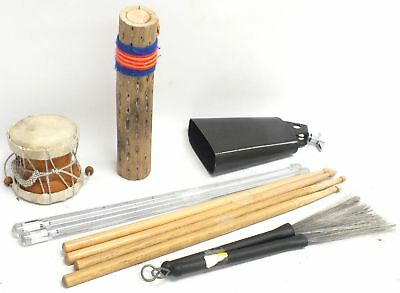 Collection Of 7 x Drumsticks Small Rainstick Cowbell Hand Drum & Brushes - B84
