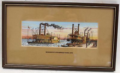 """CASH'S Woven Pictures """"Mississippi Steamboat"""" Embroidered Art In Frame - N10"""