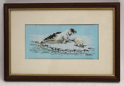 """CASH'S Woven Pictures """"Seal And Pup"""" High Quality Embroidered Art In Frame - A14"""