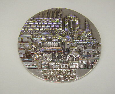 "Vintage signed Pendant ISRAEL Silver by BIER round relief 2+"" diameter"