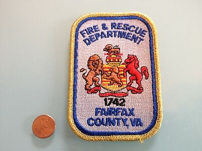 Vintage FAIRFAX COUNTY Virginia FIRE & RESCUE DEPT. PATCH unused RARE iron on