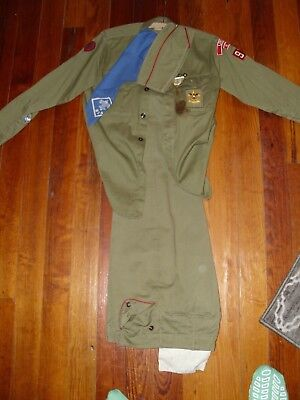 1960's BOY SCOUT UNIFORM LIBERTY NY SHIRT PANTS HAT BANDANA MEDALS PATCHES CARDS