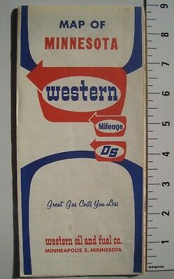Western Oil and Fuel Co. Minnesota Road Map; Late 1960s