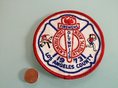 """73"""" Vintage CALIFORNIA FIREMEN'S Athletic Assoc. PATCH sew on Los Angeles County"""