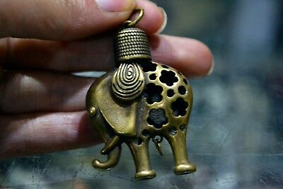 Rare Old Collectible Brass Handwork Chinese Hollow Out Elephant Antique Pendant