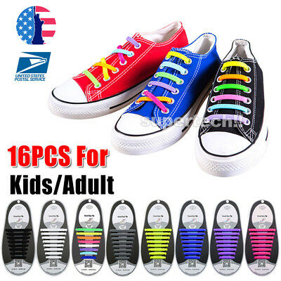 16Pcs No Tie Elastic Silicone Shoe Laces Shoelaces Sneakers Runners Child/Adult