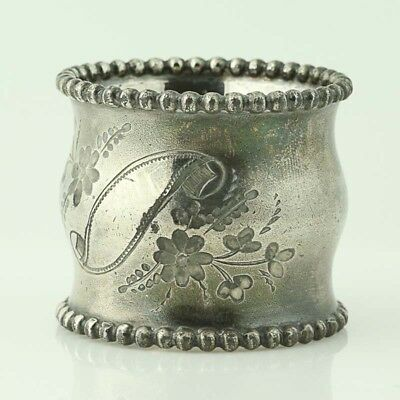 Vintage Contoured Round Napkin Ring - Silver Plate Etched Floral Scroll