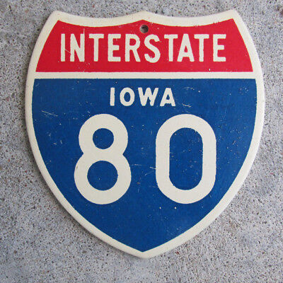 """IOWA Interstate Mini Sign State Highway Commission 4"""" Compliments Metal Vintage"""