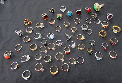 Lot Of 50 Vintage Woman's Costume Jewelry From Hoarder Estate