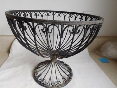 Vtg Footed pedestal metal curled wire basket planter garden flower pot holder