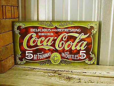 Coca-Cola Coke Fountain Bottles 5 Cents Red Green Metal Tin Sign Vintage Kitchen
