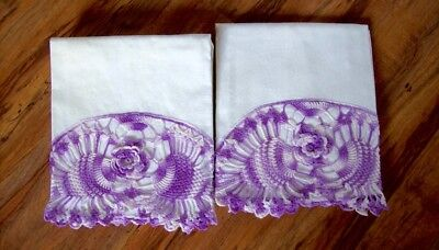 Vintage Pair Of Pillow Cases With Beautiful Large Crochet Edge