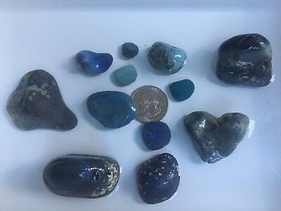 Leland Blue Stones - 12 unpolished - Bright Blues - 6.1 oz Great For Jewelry!