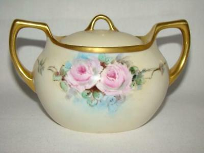 Gorgeous Antique Hand Painted ROSES Porcelain SUGAR BOWL, Germany