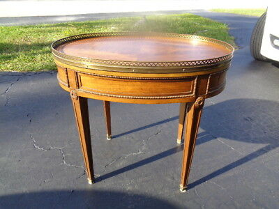 "Vintage  Baker - Louis XVI Oval End Table With Pierced Heart Brass Gallery (28"")"