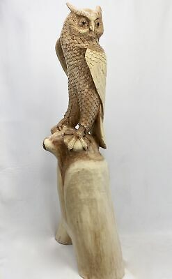 Perched Owl Statue Parasite Mushroom Wood Carving Handmade Lodge decor Bali Art
