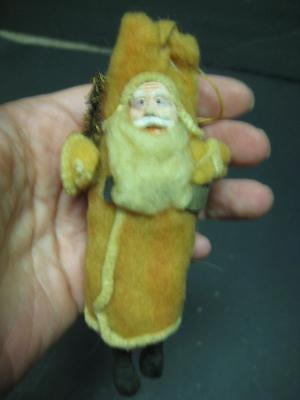 Antique Vintage Christmas Clay Face Santa Ornament Figure Cotton Batting