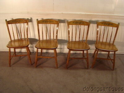 49068:Hitchcock Paint Decorated Set of 4 Solid Maple Dining Chairs
