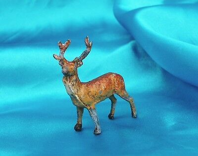 Antique Putz metal Reindeer Deer with antlers  thinking Heyde Germany Christmas*