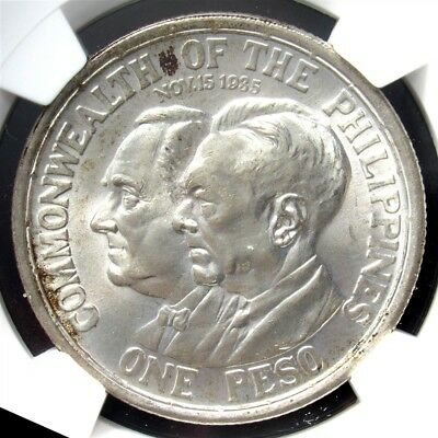 1936 Philippines Silver Peso, Roosevelt/Quezon - NGC MS64+ - KM#177 US Admin