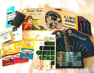 1940s 50s Sewing Needle Books Woolworth Bayless Stores Boye Happy Home More