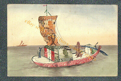 HAND PAINTED SAILBOAT STAMP MONTAGE -MADE IN CHINA - circa 1920 Postcard GRADE 3