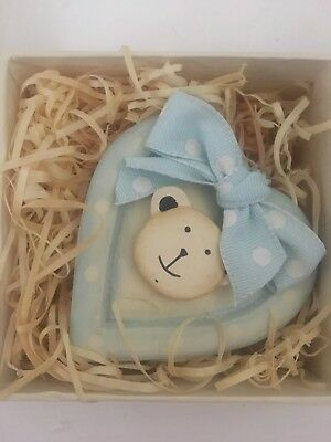 Baby Boy Gift (Teddy Bear Wooden Heart) Boxed new