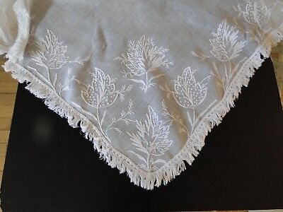 ANTIQUE LACE- CIRCA 1800's, FINE LADIES MUSLIN SHAWL WITH TAMBOUR EMBROIDERY