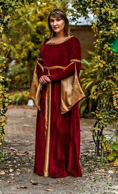 PLUS SIZE LUXURY Medieval Gown Queen Maiden Dress Costume Royal ...