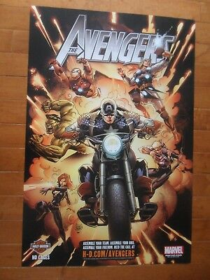 "Rare Huge 24""x36"" Harley Davidson Poster With The Avengers Marvel Studios 2012"