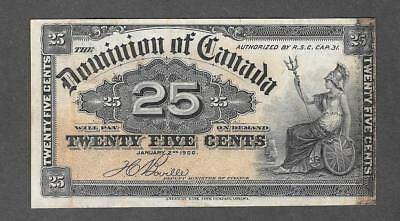 1900 Dominion Of Canada 25 Cent Fractional Currency Note  - P412
