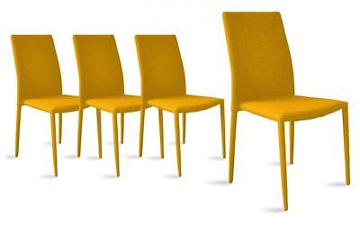 Dining Room Chairs Set of 4, Fabric Chair for Living 4 Pieces (Yellow)