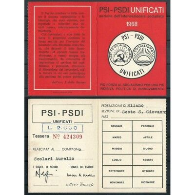 CARD PSI / YEAR 1968 / SOCIALIST PARTY ITALIAN / Fed. MILANO MF42829