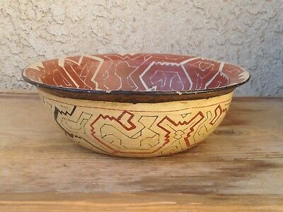 Rare Antique Shipibo Pottery Bowl Northern Peru