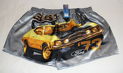 Ford 1973 XA GT Falcon Coupe Mens Grey Printed Satin Boxer Shorts Size L New