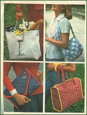 1970s Vintage Set of Quilted Fabric Clutch Purse Tote Bag Sewing Pattern