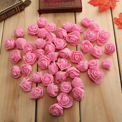 New 50Pcs Mini 3.5cm Foam Roses Flower Wedding Bride Bouquet Party Decor  Little