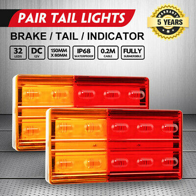 2x LED Trailer Tail Lights Stop Indicator Lamp 12V ADR Truck UTE Submersible